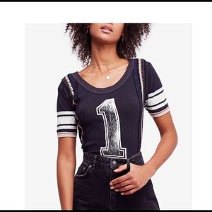 Free People Black 1st Place Graphic T-Shirt XS